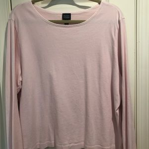 Eileen fisher pink cotton long sleeve shirt